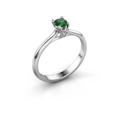 Foto van Verlovingsring Isa 1 585 witgoud smaragd 4 mm