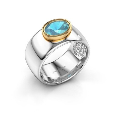 Picture of Ring Anouschka 585 white gold blue topaz 8x6 mm