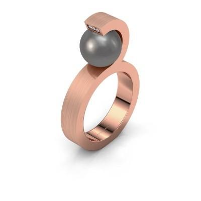 Foto van Ring Juana 375 rosé goud grijze parel 9 mm