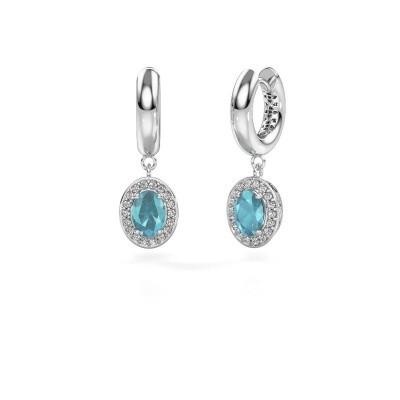 Picture of Drop earrings Annett 375 white gold blue topaz 7x5 mm