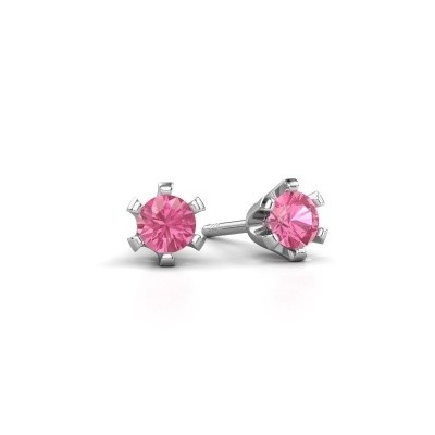 Picture of Stud earrings Shana 925 silver pink sapphire 4 mm
