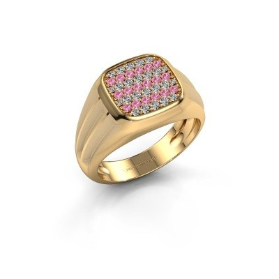 Foto van Pinkring Robbert 585 goud roze saffier 1.4 mm