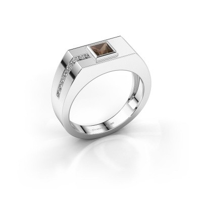 Foto van Heren ring Robertus 1 375 witgoud rookkwarts 4 mm