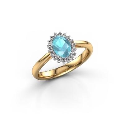 Foto van Verlovingsring Tilly 1 585 goud blauw topaas 7x5 mm