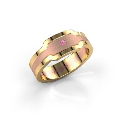Foto van Heren ring Guido 585 rosé goud roze saffier 2 mm