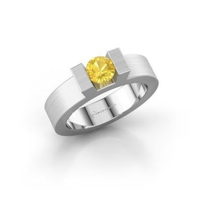 Foto van Ring Leena 1 925 zilver gele saffier 5 mm