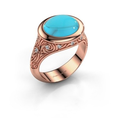 Foto van Ring Natacha 375 rosé goud blauw topaas 12x10 mm