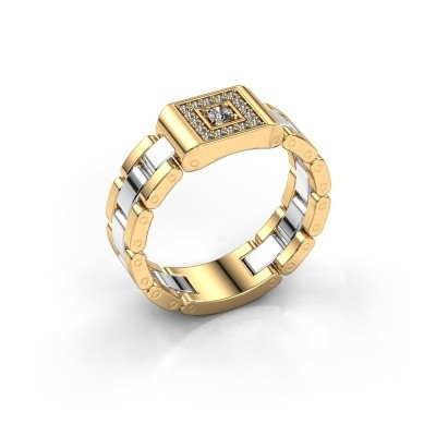 Rolex stijl ring Giel 585 goud diamant 0.20 crt
