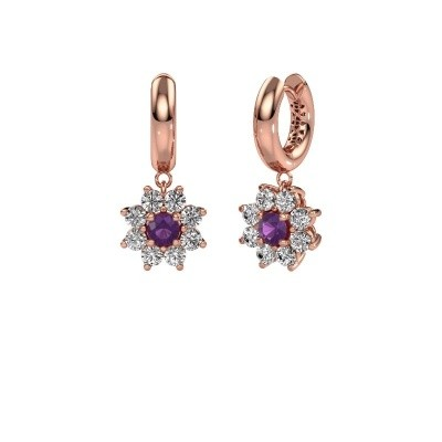 Picture of Drop earrings Geneva 1 375 rose gold amethyst 4.5 mm