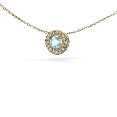 Picture of Pendant Agaat 585 gold aquamarine 5 mm
