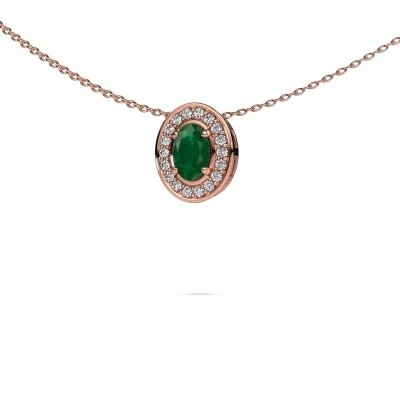 Picture of Necklace Madelon 375 rose gold emerald 6x4 mm