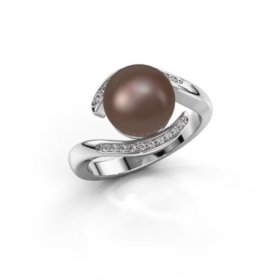 Foto van Ring Dedra 585 witgoud bruine parel 9 mm