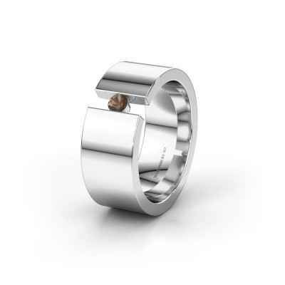 Trouwring WH0146L18BP 925 zilver rookkwarts ±8x2 mm