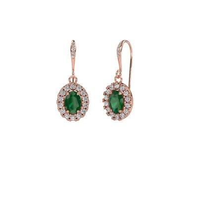 Picture of Drop earrings Jorinda 2 375 rose gold emerald 7x5 mm