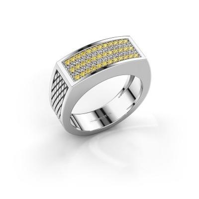 Foto van Heren ring Erwin 950 platina gele saffier 1.2 mm
