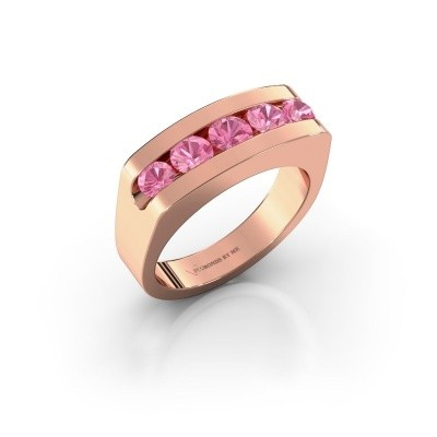 Foto van Heren ring Richard 585 rosé goud roze saffier 4 mm