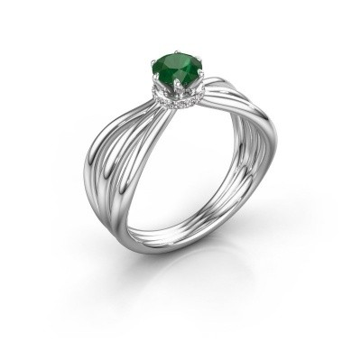 Verlovingsring Kimi 585 witgoud smaragd 5 mm