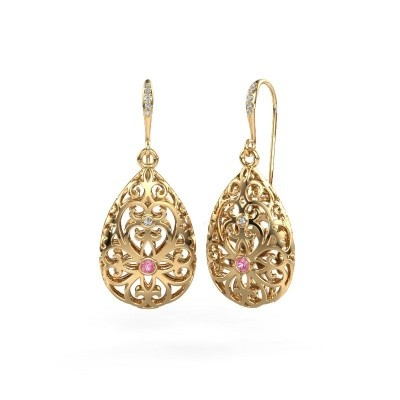 Picture of Drop earrings Idalia 2 585 gold pink sapphire 2 mm