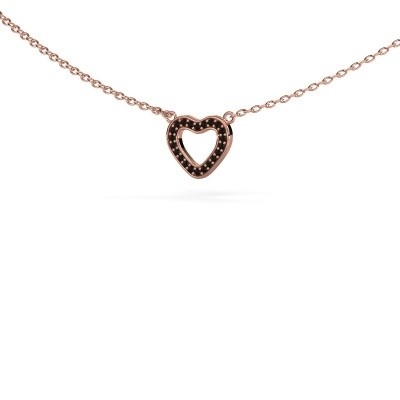 Picture of Pendant Heart 4 375 rose gold black diamond 0.066 crt