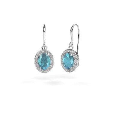 Picture of Drop earrings Latesha 375 white gold blue topaz 8x6 mm