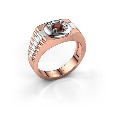 Foto van Rolex stijl ring Edward 585 rosé goud granaat 4.7 mm