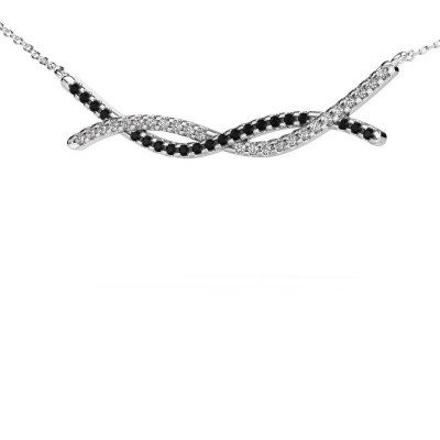 Foto van Bar ketting Breanne 585 witgoud zwarte diamant 0.369 crt