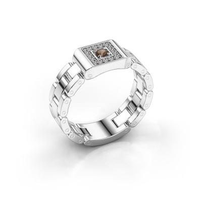 Foto van Rolex stijl ring Giel 585 witgoud rookkwarts 2.7 mm