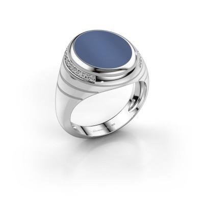 Foto van Zegelring Luuk 375 witgoud blauw lagensteen 14x12 mm