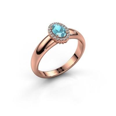 Engagement ring Tamie 585 rose gold blue topaz 6x4 mm