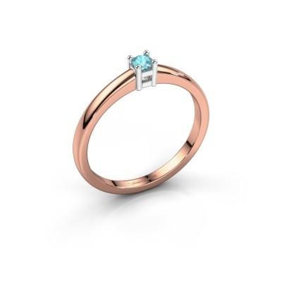 Foto van Promise ring Eline 1 585 rosé goud blauw topaas 3 mm
