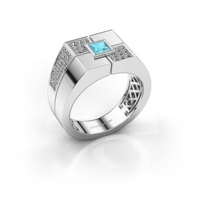 Foto van Heren ring Rogier 925 zilver blauw topaas 4 mm