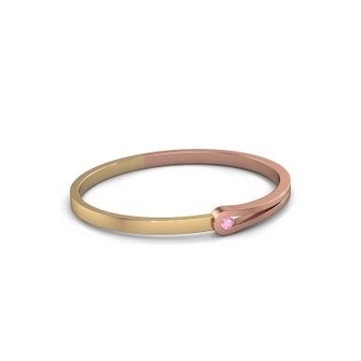 Foto van Slavenarmband Kiki 585 rosé goud roze saffier 4 mm