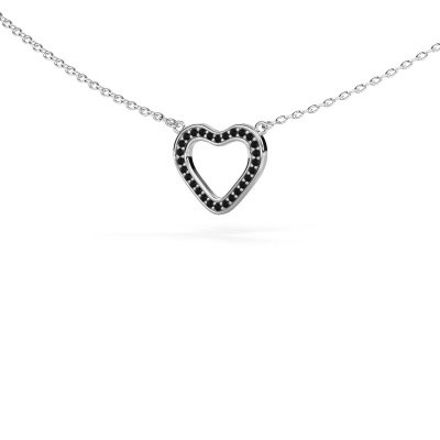 Foto van Hanger Heart 3 585 witgoud zwarte diamant 0.084 crt