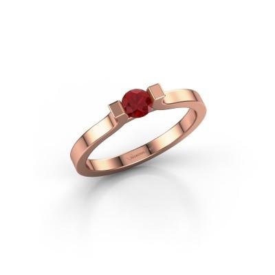 Foto van Verlovingsring Jodee 585 rosé goud robijn 4 mm