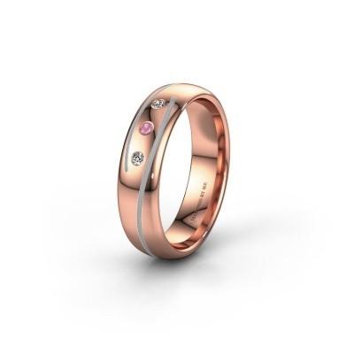 Trouwring WH0152L25A 585 rosé goud roze saffier ±5x1.7 mm