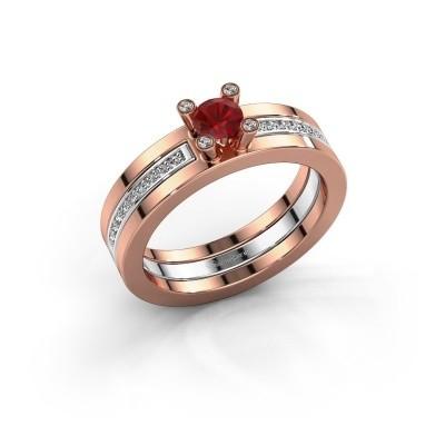 Foto van Ring Alisha 585 rosé goud robijn 4 mm