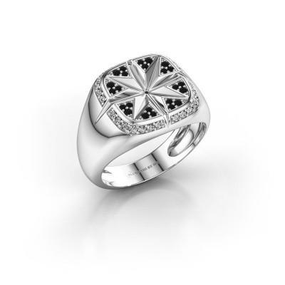 Foto van Heren ring Ravi 925 zilver zwarte diamant 0.378 crt