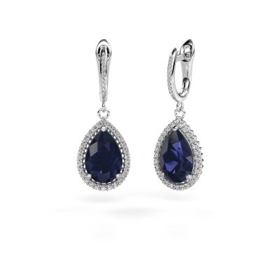 Picture of Drop earrings Hana 2 585 white gold sapphire 12x8 mm