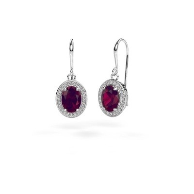 Picture of Drop earrings Latesha 375 white gold rhodolite 8x6 mm