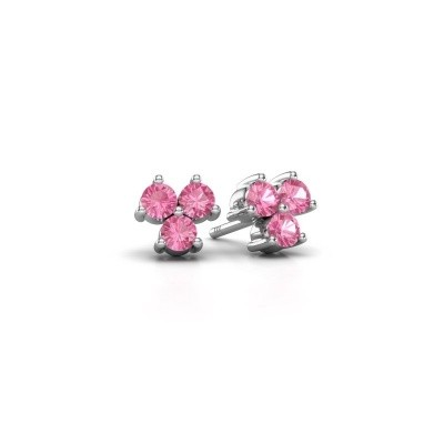 Picture of Stud earrings Shirlee 925 silver pink sapphire 3 mm