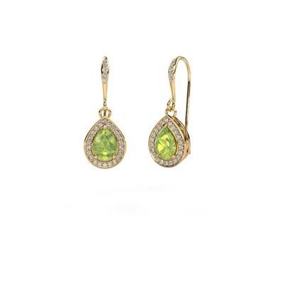 Picture of Drop earrings Beverlee 2 750 gold peridot 7x5 mm