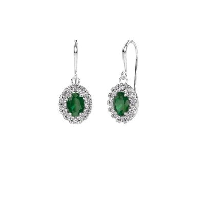 Picture of Drop earrings Jorinda 1 375 white gold emerald 7x5 mm