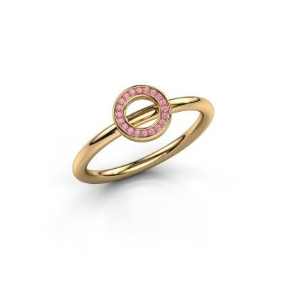Foto van Ring Shape round small 585 goud roze saffier 0.8 mm