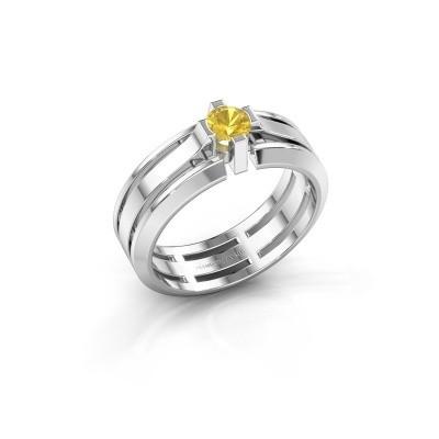 Foto van Heren ring Sem 950 platina gele saffier 4.7 mm