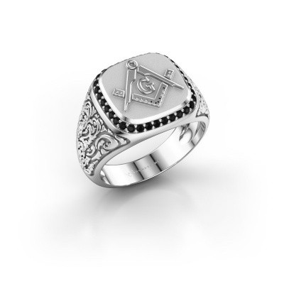 Foto van Herenring Hugo 925 zilver zwarte diamant 0.306 crt