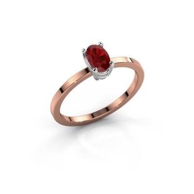 Foto van Ring Lynelle 1 585 rosé goud robijn 6x4 mm