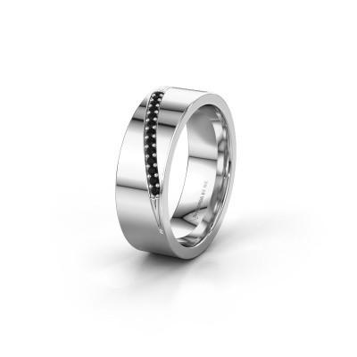 Trouwring WH2146L17A 925 zilver zwarte diamant ±7x1.7 mm