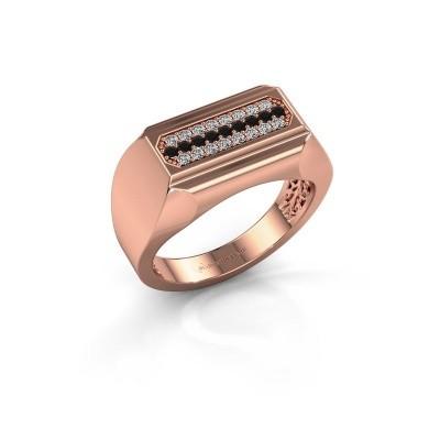 Foto van Heren ring Gerard 375 rosé goud zwarte diamant 0.322 crt
