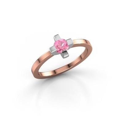 Foto van Ring Therese 585 rosé goud roze saffier 4.2 mm