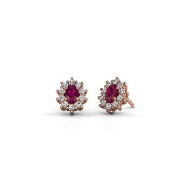 Picture of Earrings Leesa 375 rose gold rhodolite 6x4 mm